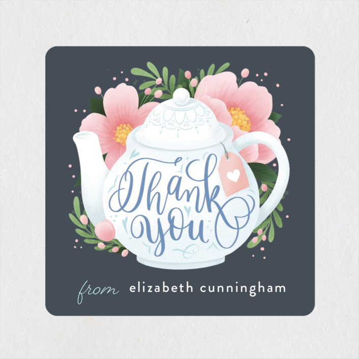 """A Baby Is Brewing"" - Whimsical & Funny Baby Shower Stickers in Navy by Four Wet Feet Studio."