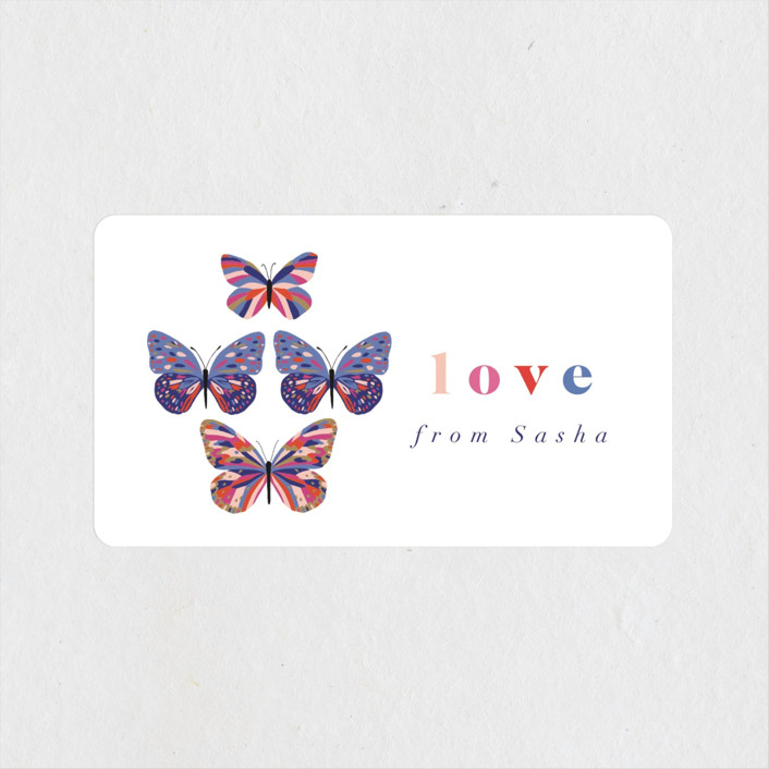 """""""Vibrant Butterflies"""" - Baby Shower Stickers in Cobalt by Nazia Hyder."""