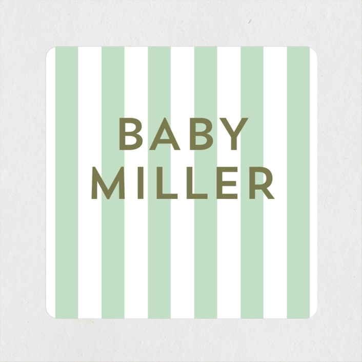 """""""Happy Heart"""" - Whimsical & Funny Baby Shower Stickers in Evergreen by Baumbirdy."""