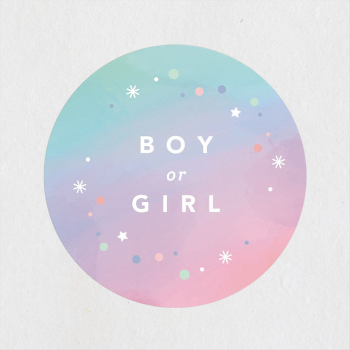 """Chroma"" - Baby Shower Stickers in Aqua by Kristen Smith."