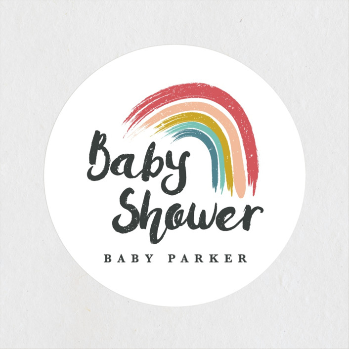 """""""Rainbow Hope"""" - Baby Shower Stickers in Popsicle by Kanika Mathur."""