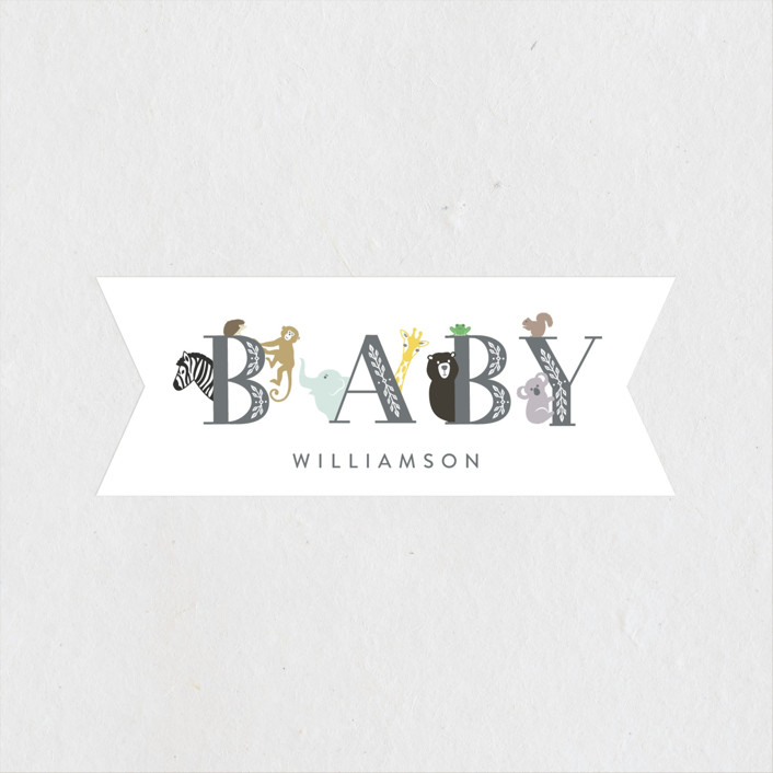 """""""Animal Baby"""" - Whimsical & Funny Baby Shower Stickers in Charcoal by Lisa Assenmacher."""