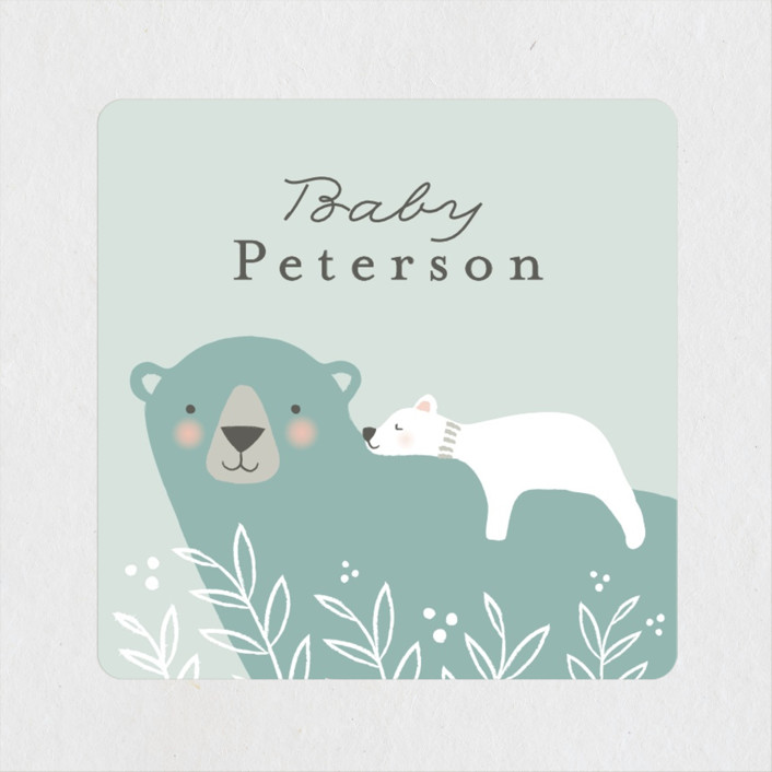 """""""Mama Bear"""" - Whimsical & Funny Baby Shower Stickers in Lake by Karidy Walker."""
