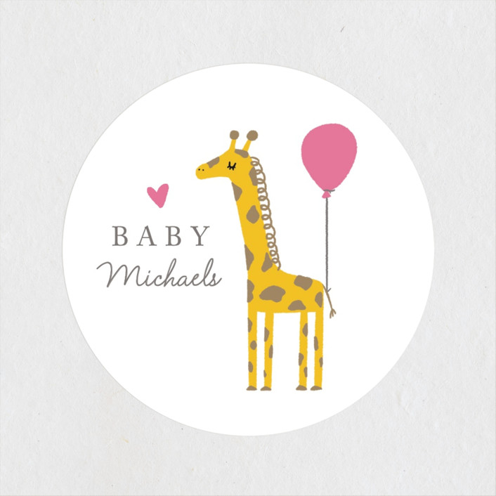"""Mama and Baby Giraffe"" - Whimsical & Funny Baby Shower Stickers in Ice Cream by mo kelley."