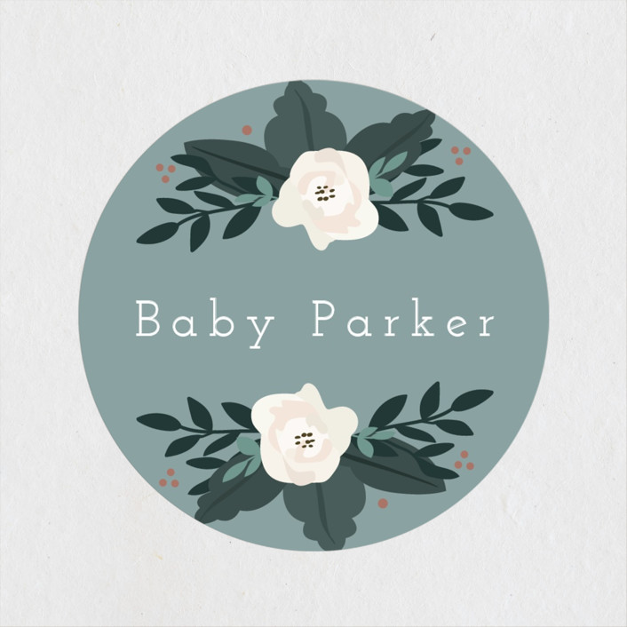 """Boho Wreath"" - Baby Shower Stickers in Fern by Hudson Meet Rose."