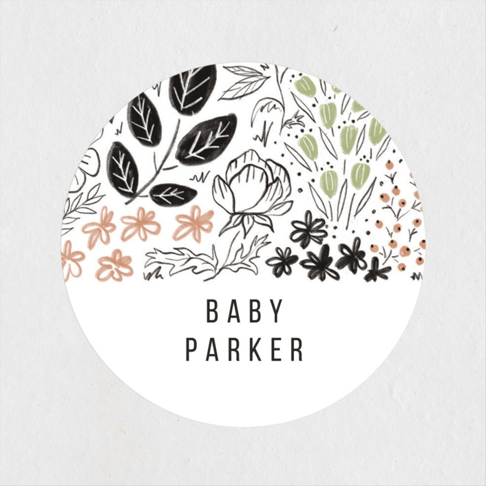 """Surrounded by flowers"" - Baby Shower Stickers in Sage by Susanne Kasielke."