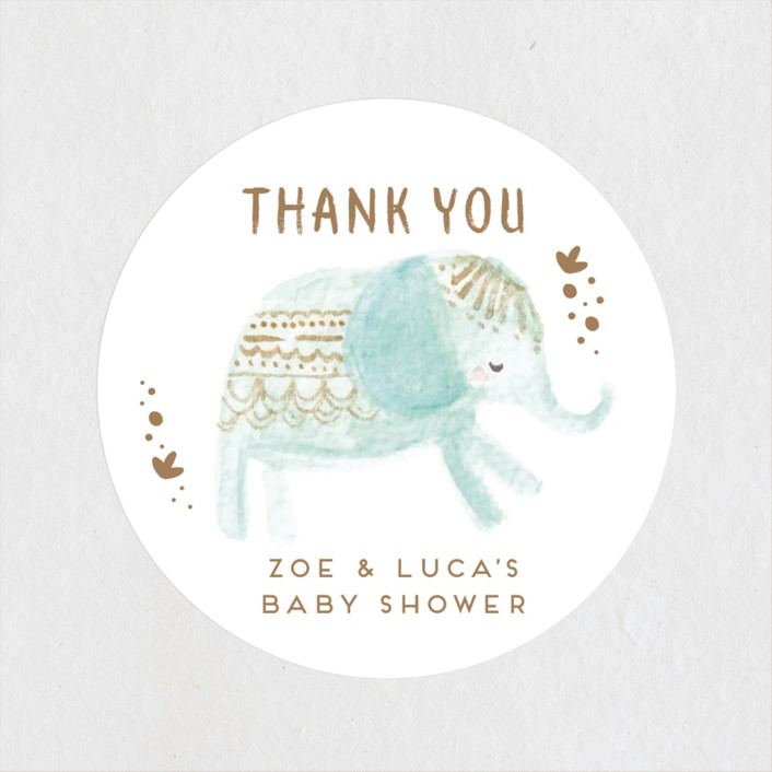 """animal accents"" - Whimsical & Funny Baby Shower Stickers in Almond by peetie design."