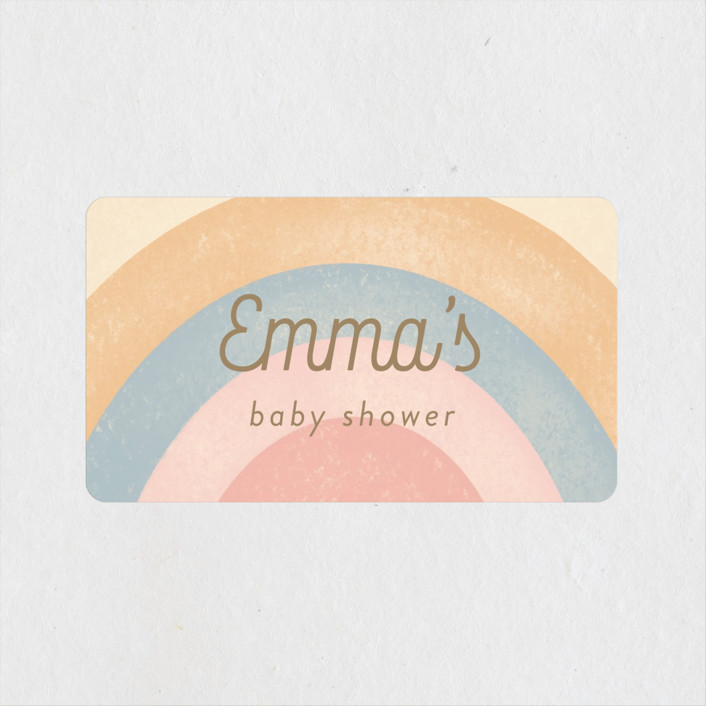 """""""Over the Rainbow"""" - Whimsical & Funny Baby Shower Stickers in Boho by Tennie and Co.."""