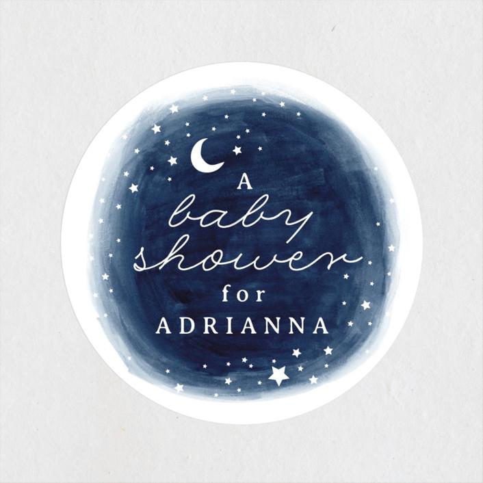 """""""Constellation"""" - Baby Shower Stickers in Midnight by JeAnna Casper."""