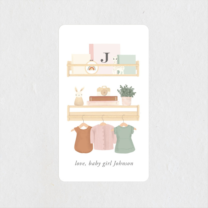 """""""Baby Girl Shelves"""" - Whimsical & Funny Baby Shower Stickers in Tropical by Itsy Belle Studio."""