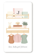 This is a orange baby shower favor label by Itsy Belle Studio called Baby Girl Shelves with standard printing on uncoated sticker paper in sticker.