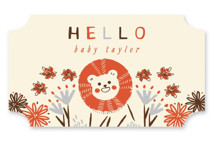 This is a yellow baby shower favor label by Vivian Yiwing called Drive in the Jungle with standard printing on uncoated sticker paper in sticker.