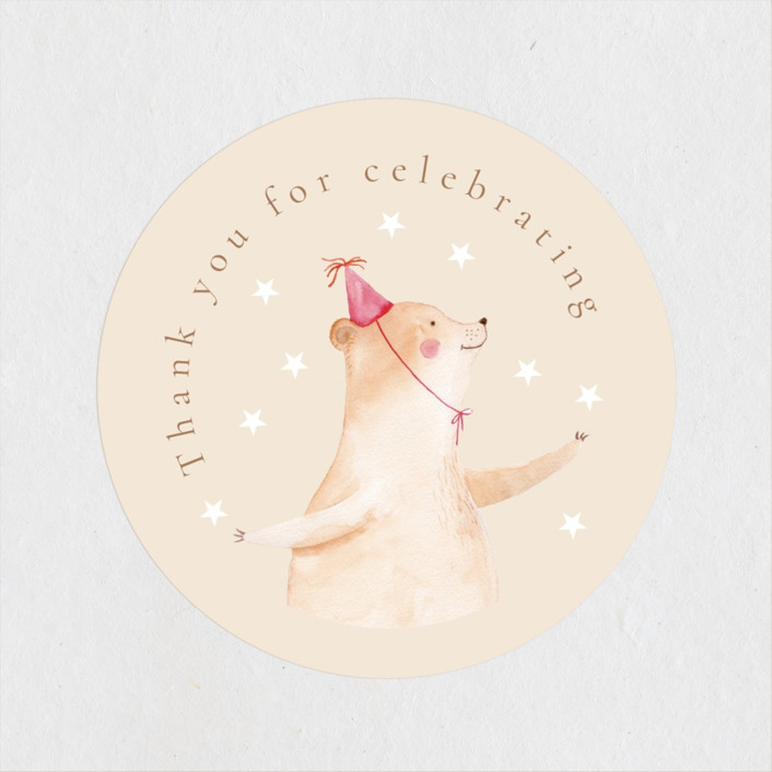 """""""Baby Circus"""" - Whimsical & Funny Baby Shower Stickers in Creme by frau brandt."""