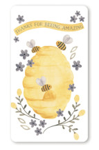 This is a yellow baby shower favor label by Sarah Knight called Mama To Bee with standard printing on uncoated sticker paper in sticker.
