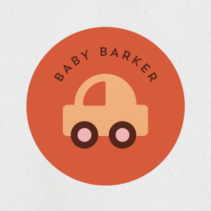 """""""Toy Car Parade"""" - Preppy Baby Shower Stickers in Gumdrops by Corinne Malesic."""