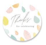 This is a yellow baby shower favor label by Creo Study called Raindrops with standard printing on uncoated sticker paper in sticker.