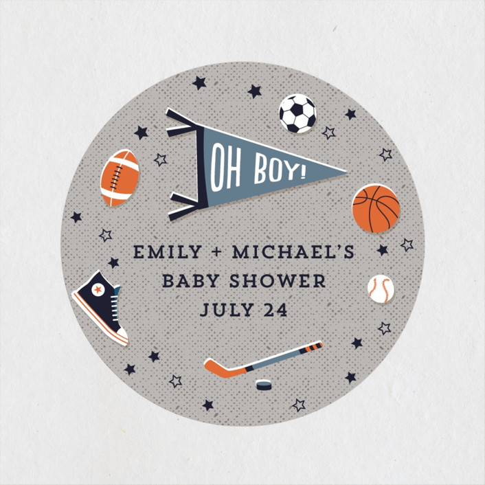 """""""Little Rookie"""" - Whimsical & Funny Baby Shower Stickers in Mist by Nam Bourassa."""