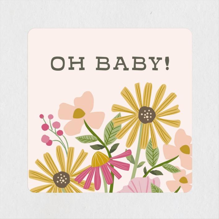 """growing flower pot"" - Baby Shower Stickers in Rose by Karidy Walker."