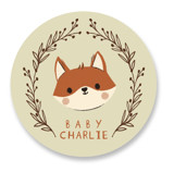 This is a green baby shower favor label by Vivian Yiwing called Baby Fox with standard printing on uncoated sticker paper in sticker.