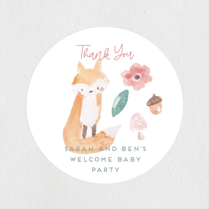 """""""garden baby"""" - Whimsical & Funny Baby Shower Stickers in Sage by peetie design."""