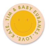 This is a pink baby shower favor label by Baumbirdy called Groovy Baby with standard printing on uncoated sticker paper in sticker.