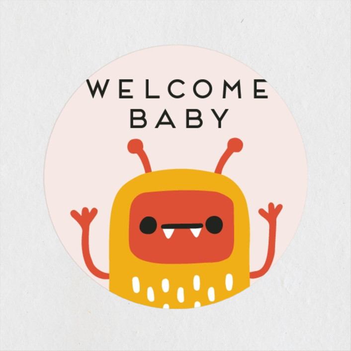 """""""Monsters"""" - Whimsical & Funny Baby Shower Stickers in Bubblegum by Genna Blackburn."""