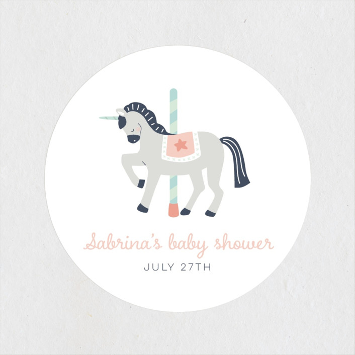 """""""baby carousel"""" - Whimsical & Funny Baby Shower Stickers in Mint by peetie design."""