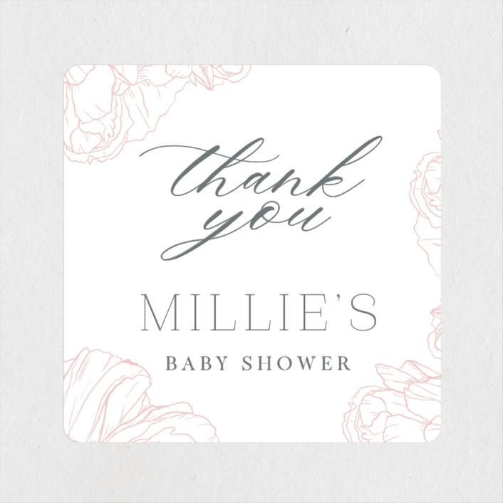"""Timeless"" - Baby Shower Stickers in Blush by Nicoletta Savod."
