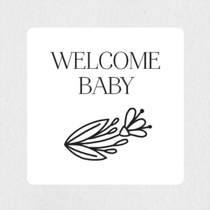 """Botanical Frame"" - Baby Shower Stickers in Onyx by Genna Blackburn."