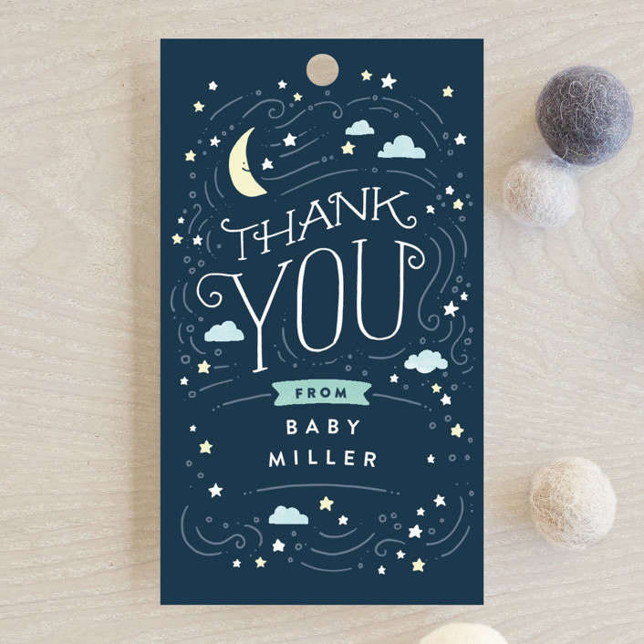 """""""Moon and stars"""" - Baby Shower Favor Tags in Midnight Blue by Jennifer Wick."""