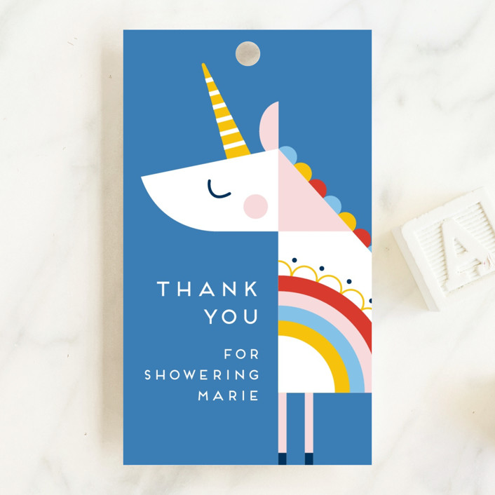 """""""rainbow unicorn"""" - Whimsical & Funny Baby Shower Favor Tags in Cobalt by Genna Blackburn."""