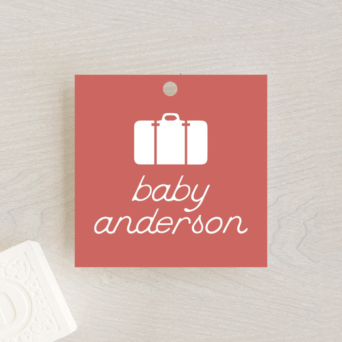 """Miniature Railroad"" - Baby Shower Favor Tags in Tomato by Grae Sales."