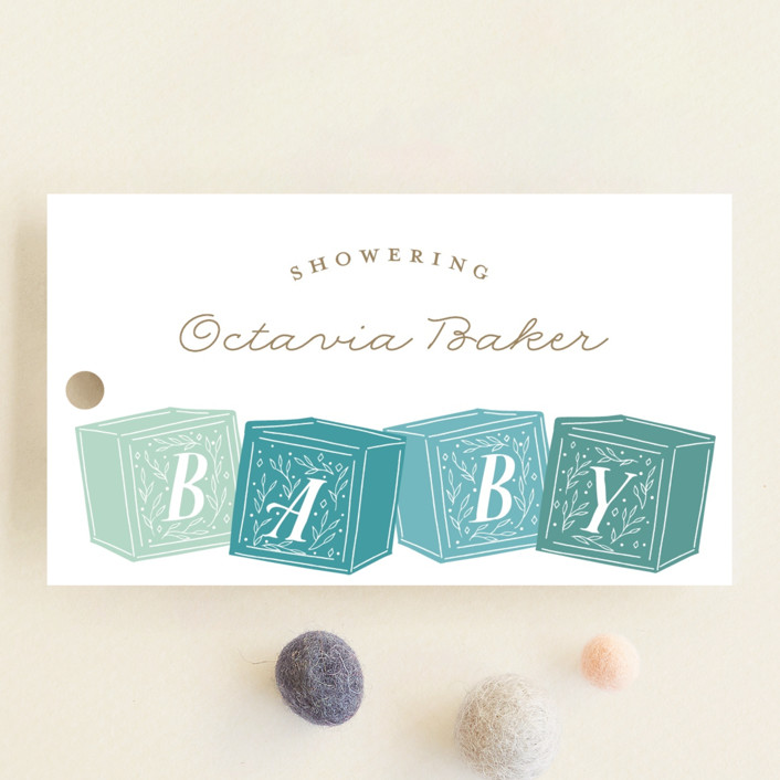 """Stacked Blocks"" - Baby Shower Favor Tags in Seafoam by Jackie Crawford."