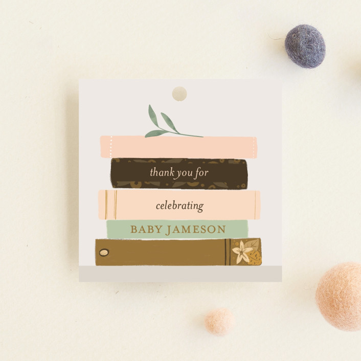 """Book Lovers"" - Whimsical & Funny Baby Shower Favor Tags in Mustard by Lottie Made Co."