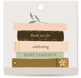 This is a yellow baby shower favor tag by Lottie Made Co called Book Lovers with standard printing on signature in sticker.