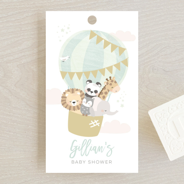 """""""baby balloon ride"""" - Baby Shower Favor Tags in Seafoam by peetie design."""