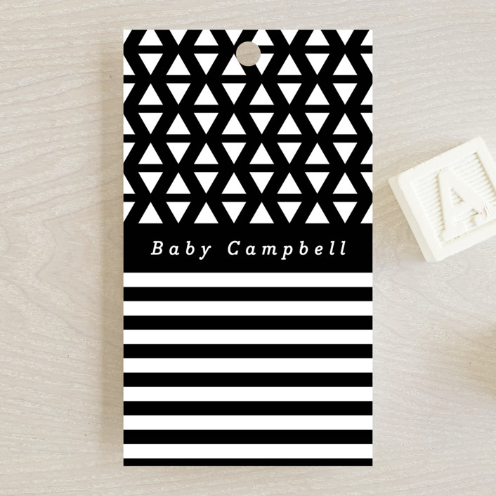 """""""Monochromatic"""" - Preppy Baby Shower Favor Tags in Oreo by peony papeterie."""