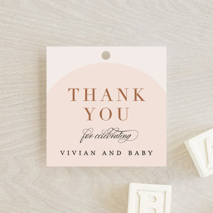 """Soft Arch"" - Modern Baby Shower Favor Tags in Blush by Erica Krystek."
