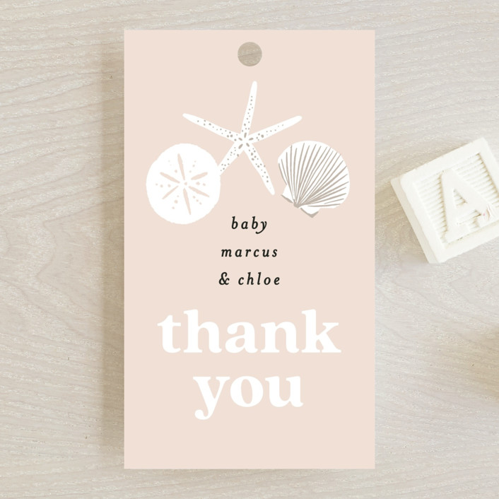 """""""Seashell """" - Whimsical & Funny Baby Shower Favor Tags in Sand by Alethea and Ruth."""
