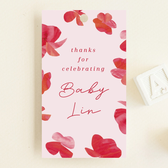 """""""Pretty Petals"""" - Baby Shower Favor Tags in Poppy by Olivia Raufman."""