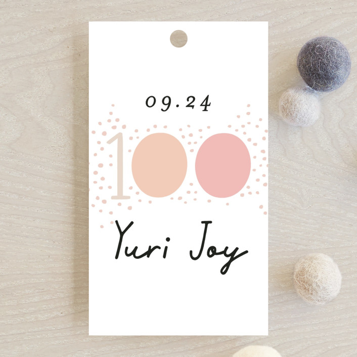 """""""100 days"""" - Baby Shower Favor Tags in Blush by Alethea and Ruth."""