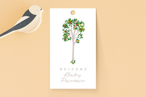 Woodland Flower Trees Baby Shower Favor Tags