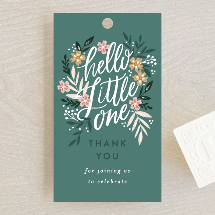 """""""Hello Little One Florals"""" - Baby Shower Favor Tags in Seagreen by Alethea and Ruth."""