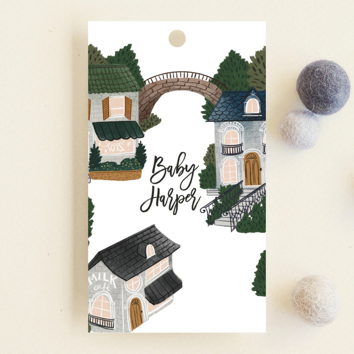 """The Village"" - Whimsical & Funny Baby Shower Favor Tags in Navy by Elly."