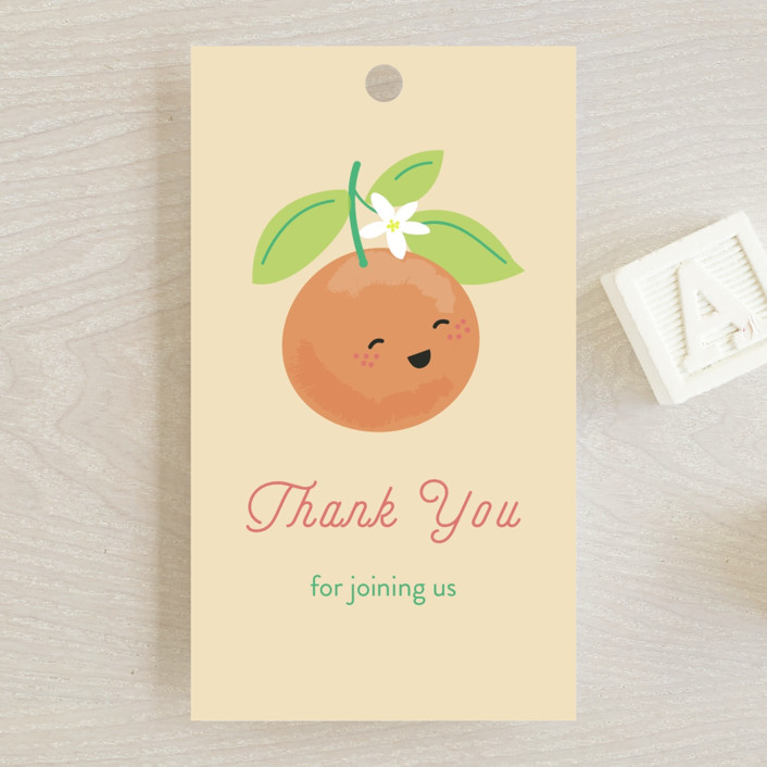 """Little Cutie"" - Baby Shower Favor Tags in Citrus by Itsy Belle Studio."