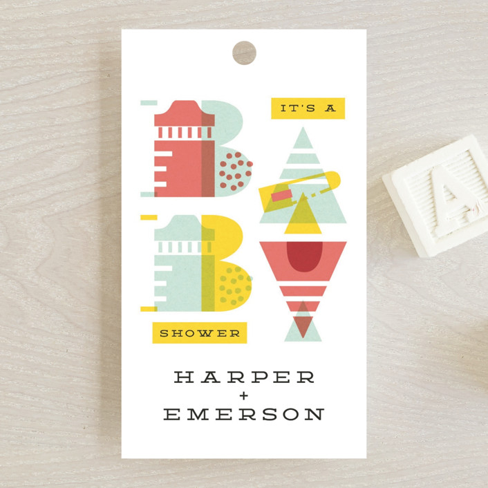 """""""De Stijl baby"""" - Baby Shower Favor Tags in Cherry by Ana de Sousa."""