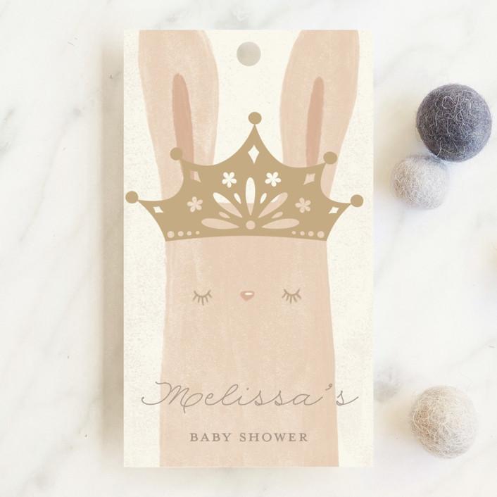 """Princess Bunny"" - Baby Shower Favor Tags in Silk by Katarina Berg."
