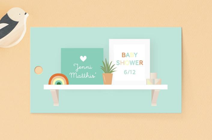 """Nursery Shelves"" - Baby Shower Favor Tags in Mint by Itsy Belle Studio."
