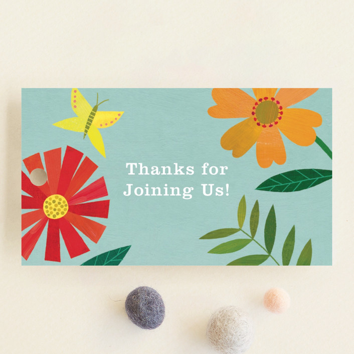 """Garden Border"" - Baby Shower Favor Tags in Sky by melanie mikecz."