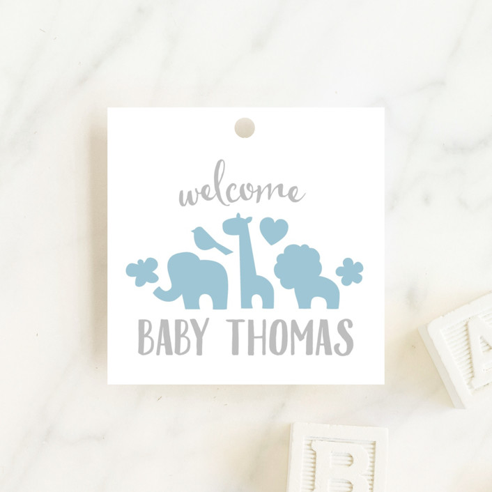 """""""Fancy Zoo"""" - Hand Drawn, Whimsical & Funny Baby Shower Favor Tags in Baby Blue by Jessie Steury."""